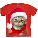 The Mountain Kinder T-Shirt  Santa Cat Red